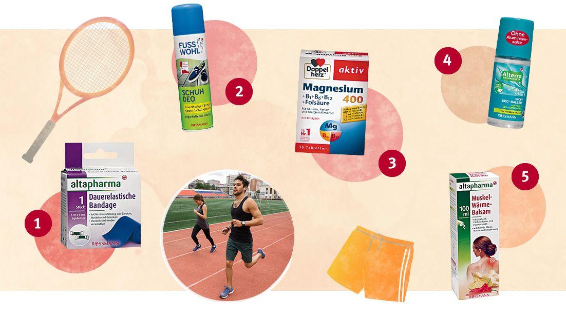 (1) Dauerelastische Bandage von altapharma; (2) Schuh Deo von Fusswohl; (3) Aktiv Magnesium 400 +B1 +B6 +B12 +Folsäure von Doppelherz; (4) Sport Deo-Balsam Koffein & Bio-Lemongras von Alterra; (5) Muskel-Wärme-Balsam von altapharma