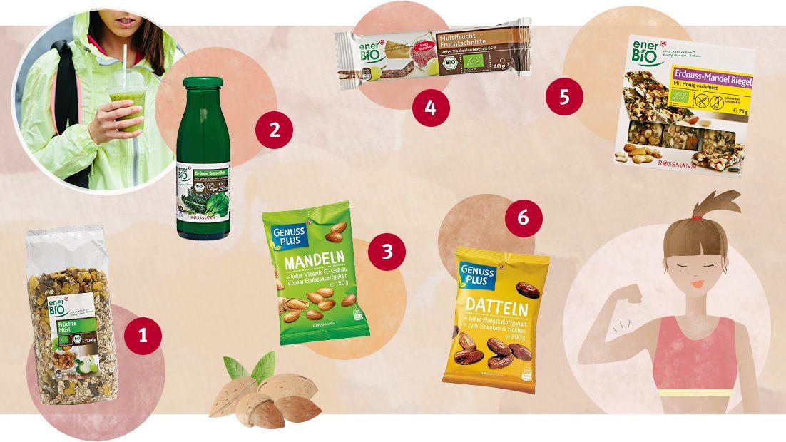 (1) Früchte Müsli von enerBio; (2) Grüner Smoothie von enerBio; (3) Mandeln von GenussPlus; (4) Fruchtschnitte von enerBio; (5) Erdnuss-Mandel-Riegel von enerBio; (6) Datteln von GenussPlus