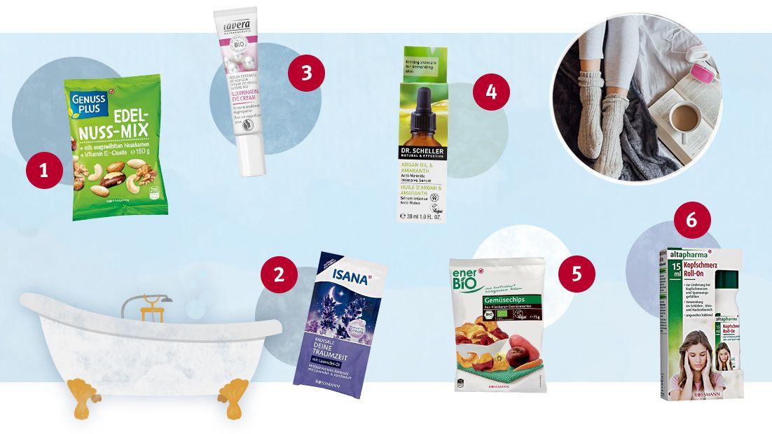 (1) Mandeln von GenussPlus; (2) Badesalz Deine Traumzeit von ISANA; (3) Illuminating Eye Cream von lavera; (4) Arganöl & Amaranth Anti-Falten Intensiv-Serum von Dr. Scheller; (5) Bio Gemüsechips von enerBio; (6) Kopfschmerz Roll-On von altapharma