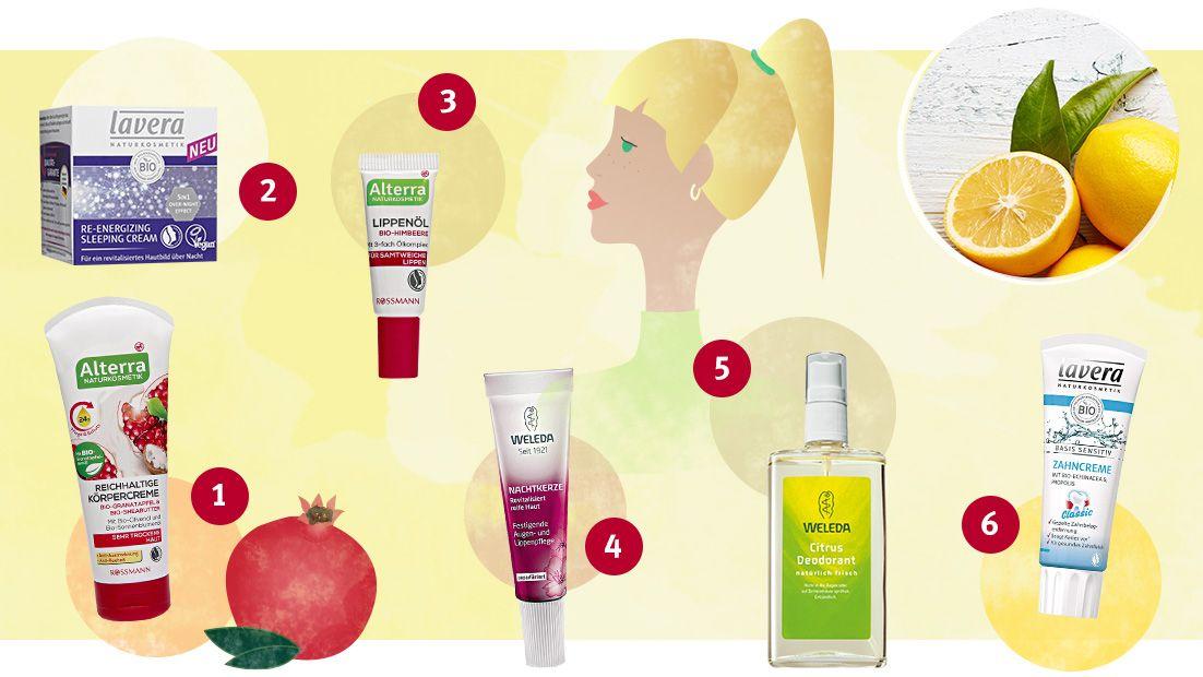 (1) Reichhaltige Körpercreme Bio-Granatapfel & Bio-Sheabutter von Alterra; (2) Re-Energizing Sleeping Cream von lavera; (3) Lippenöl Bio-Himbeere von Alterra; (4) Nachtkerze Festigende Augen- & Lippenpflege unparfümiert von Weleda; (5) Citrus Deodorant  von Weleda; (6) Basis Sensitiv Zahncreme Classic von lavera