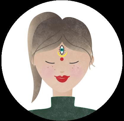 Illustration einer Frau mit einem Bindi auf der Stirn in Form eines Auges